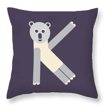 Letter K - Animal Alphabet - Koala Monogram Throw Pillow
