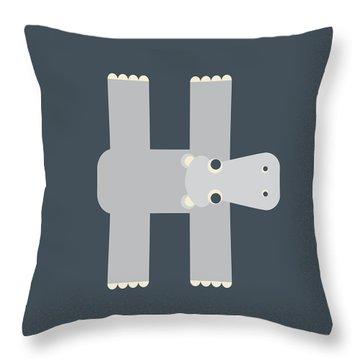 Animal Alphabet - Letter H - Hippo Monogram Throw Pillow