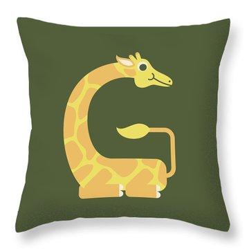 Letter G - Animal Alphabet - Giraffe Monogram Throw Pillow