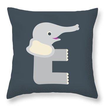 Letter E - Animal Alphabet - Elephant Monogram Throw Pillow