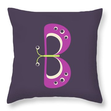 Letter B - Animal Alphabet - Butterfly Monogram Throw Pillow