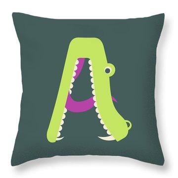 Letter A - Animal Alphabet - Alligator Monogram Throw Pillow