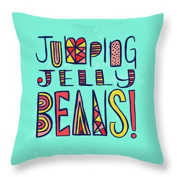 Jumping Jelly Beans Throw Pillow