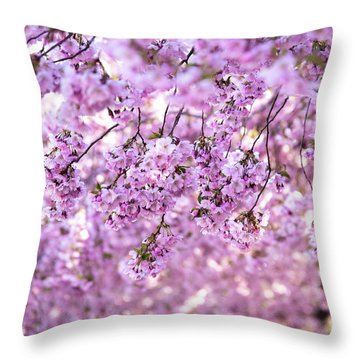 Cherry Blossom Flowers Throw Pillow