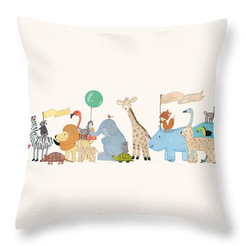 Little Safari Parade Throw Pillow by Bri Buckley