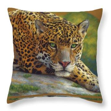 Peaceful Jaguar Throw Pillow