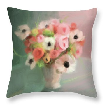 Pink Peonies And Poppies Throw Pillow