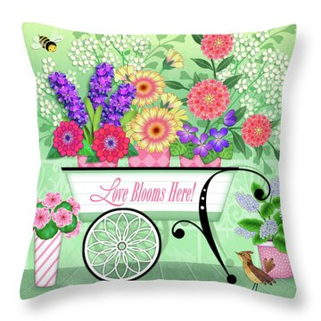 Love Blooms Here Throw Pillow