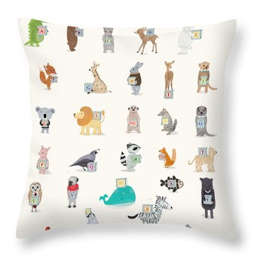 Little Alphabet Throw Pillow by Bri Buckley