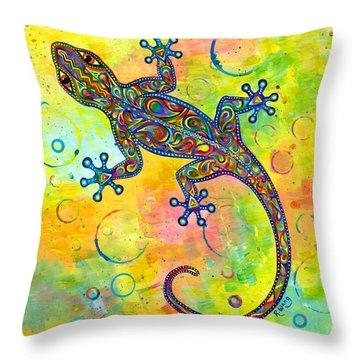 Electric Gecko Throw Pillow