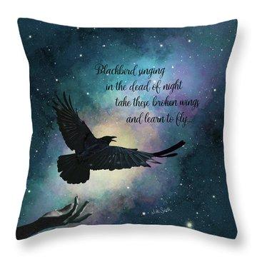 Blackbird Singing With Lyrics Throw Pillow
