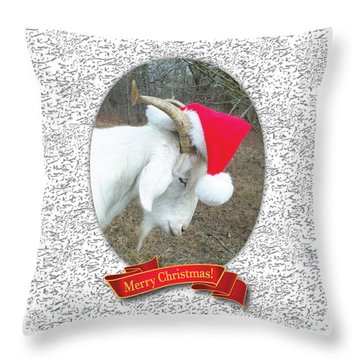 Santa Goat Throw Pillow