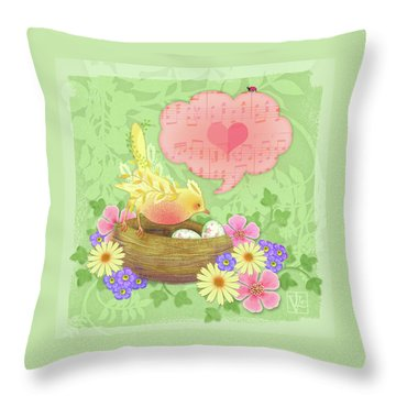 Yellow Bird's Love Song Throw Pillow