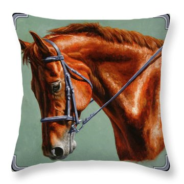 Chestnut Dressage Horse Portrait Throw Pillow
