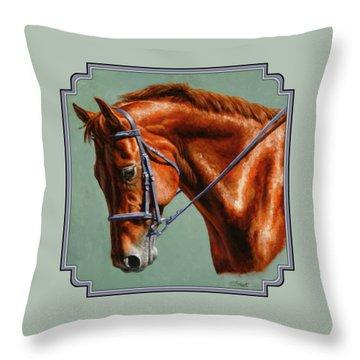 Chestnut Dressage Horse Portrait Throw Pillow