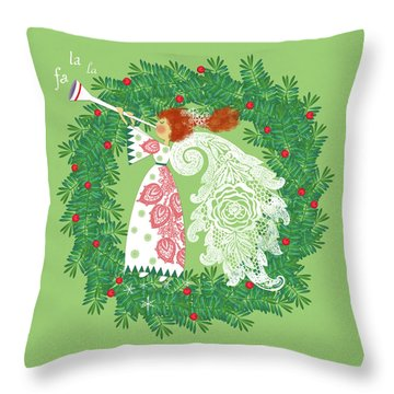 Angel With Christmas Wreath Throw Pillow