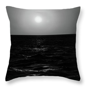 Aruba Sunset In Black And White Throw Pillow