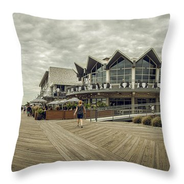 Throw Pillow featuring the photograph Asbury Park Boardwalk Looking South by Steve Stanger