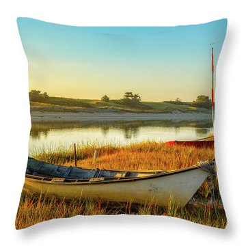Boats In The Marsh Grass, Ogunquit River Throw Pillow