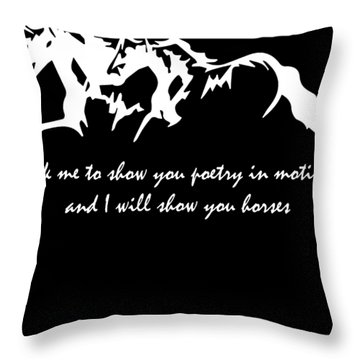 Ask Me To Show You Poetry Horses Ladies Vneck Horse Lover Graphic Tee Horse Hip Hop Throw Pillow