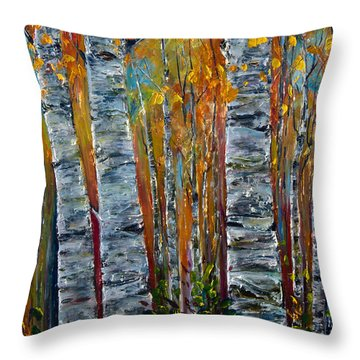 Throw Pillow featuring the photograph Aspen Trees By Olena Art by OLena Art