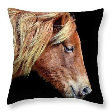 Assateague Pony Sarah's Sweet Tea Portrait On Black Throw Pillow