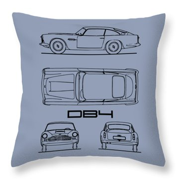 Aston Martin Db4 Blueprint Throw Pillow
