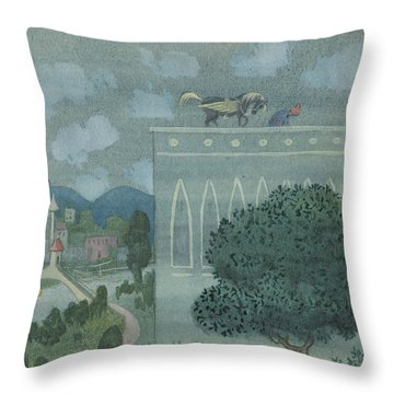 Throw Pillow featuring the drawing At Midnight, The Horse Horse Lands On The Roof Of The Caliph's Castle by Ivar Arosenius