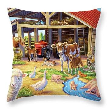 At The Farm Throw Pillow