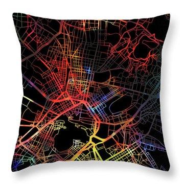 Athens Greece Watercolor City Street Map Dark Mode Throw Pillow