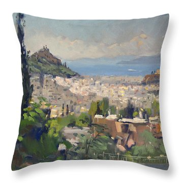 Athens View From Galatsi Throw Pillow