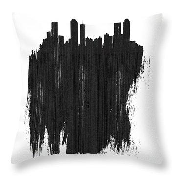 Atlanta Skyline Brush Stroke Black Throw Pillow