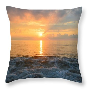 Throw Pillow featuring the photograph August Obx Sunrise by Barbara Ann Bell