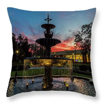 Augusta University Fountain Sunset Ga Throw Pillow