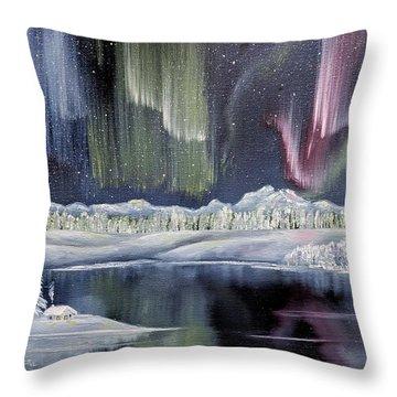 Throw Pillow featuring the painting Aurora Borealis by Deleas Kilgore