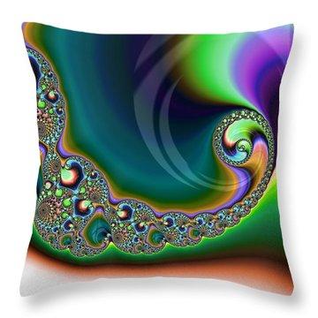 Aurora Borealis Over Snow Fractal Abstract Throw Pillow
