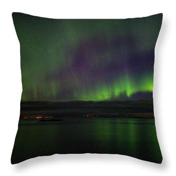 Aurora Borealis Reflecting At The Sea Surface Throw Pillow