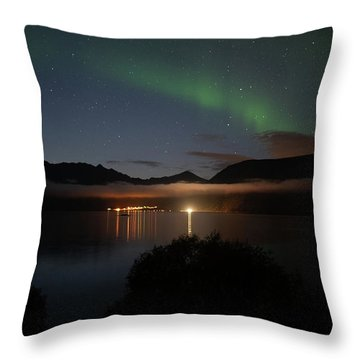 Aurora Northern Polar Light In Night Sky Over Northern Norway Throw Pillow