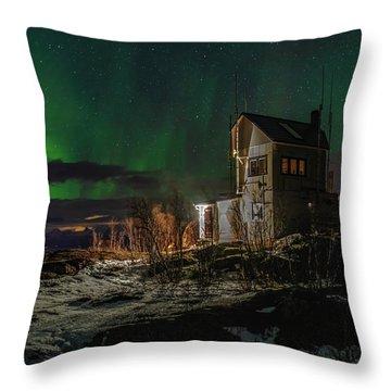 Aurora Over The Radio Station Throw Pillow
