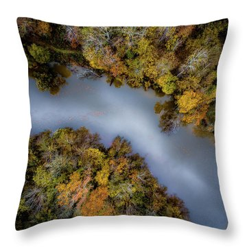 Autumn Arrives At The River Throw Pillow