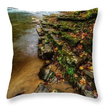 Autumn At Cherry Falls Elk River Throw Pillow