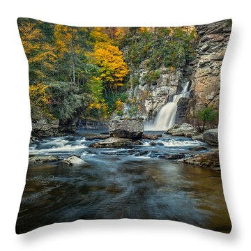 Autumn At Linville Falls - Linville Gorge Blue Ridge Parkway Throw Pillow