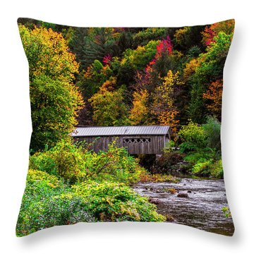 Autumn At The Comstock Covered Bridge Throw Pillow