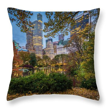 Autumn At The Pond Throw Pillow