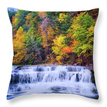 Throw Pillow featuring the photograph Autumn Beauty At Lower Taughannock Falls  by Lynn Bauer