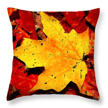 Autumn Beige Yellow Leaf On Red Leaves Throw Pillow