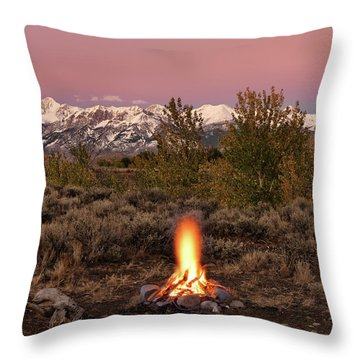 Autumn Camp Fire Throw Pillow