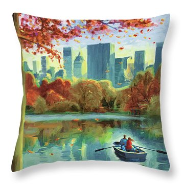 Autumn Central Park Throw Pillow