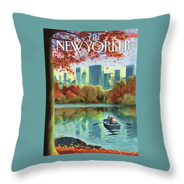 Autumn Central Park Throw Pillow