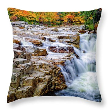 Autumn Color At Rocky Gorge Throw Pillow